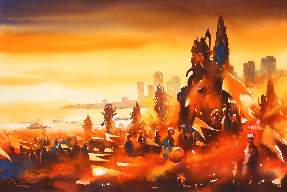Mumbai-Ganesh-Festival-II-watercolor-on-painting-by-ananta-mandal