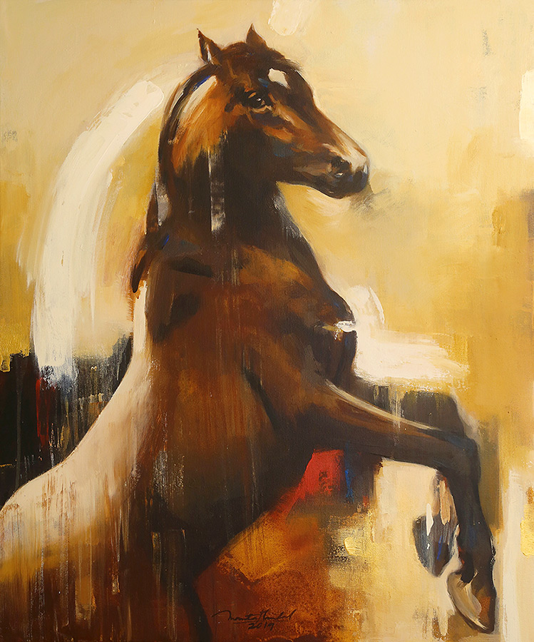 Horse-in-Motion-VI-by-Ananta-Mandal-Acrylic-on-Canvas-36-x-30-inches
