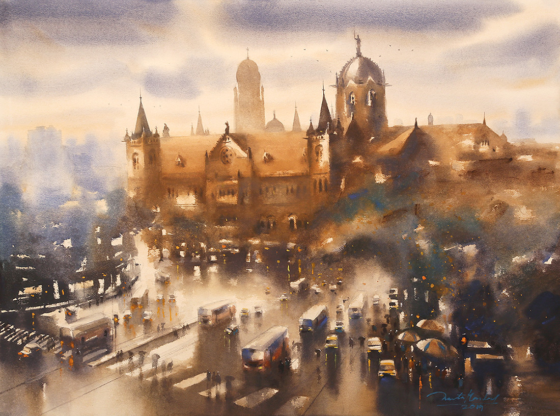 Mumbai-CST-Intersection-ii-by-Ananta-Mandal-Watercolor-on-Paper-22-x-30-inches