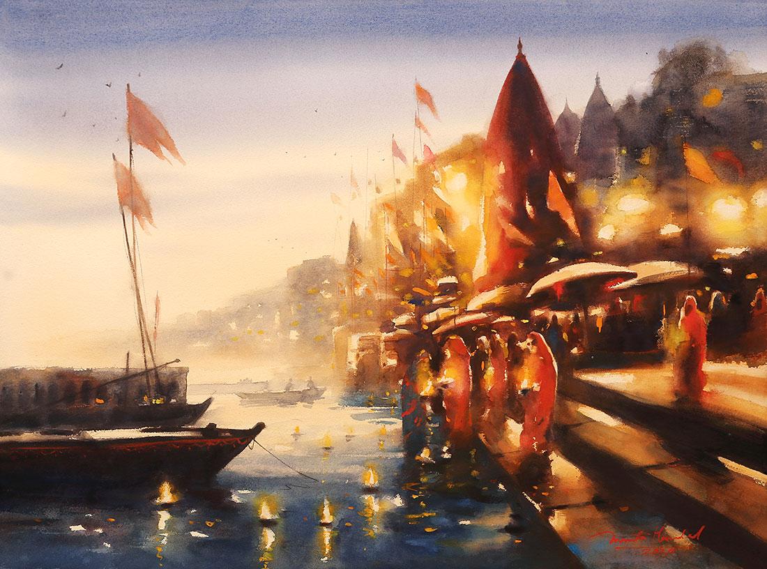 Varanasi Ghat painting by Ananta Mandal,Watercolor on Paper,2020