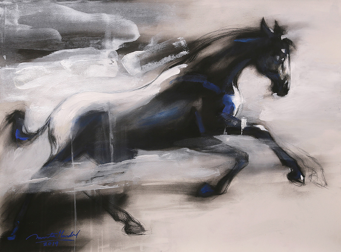 Horse-in-Motion-II-paintings-by-ananta-mandal-jehangir-art-gallery-mumbai-painting-exhibition