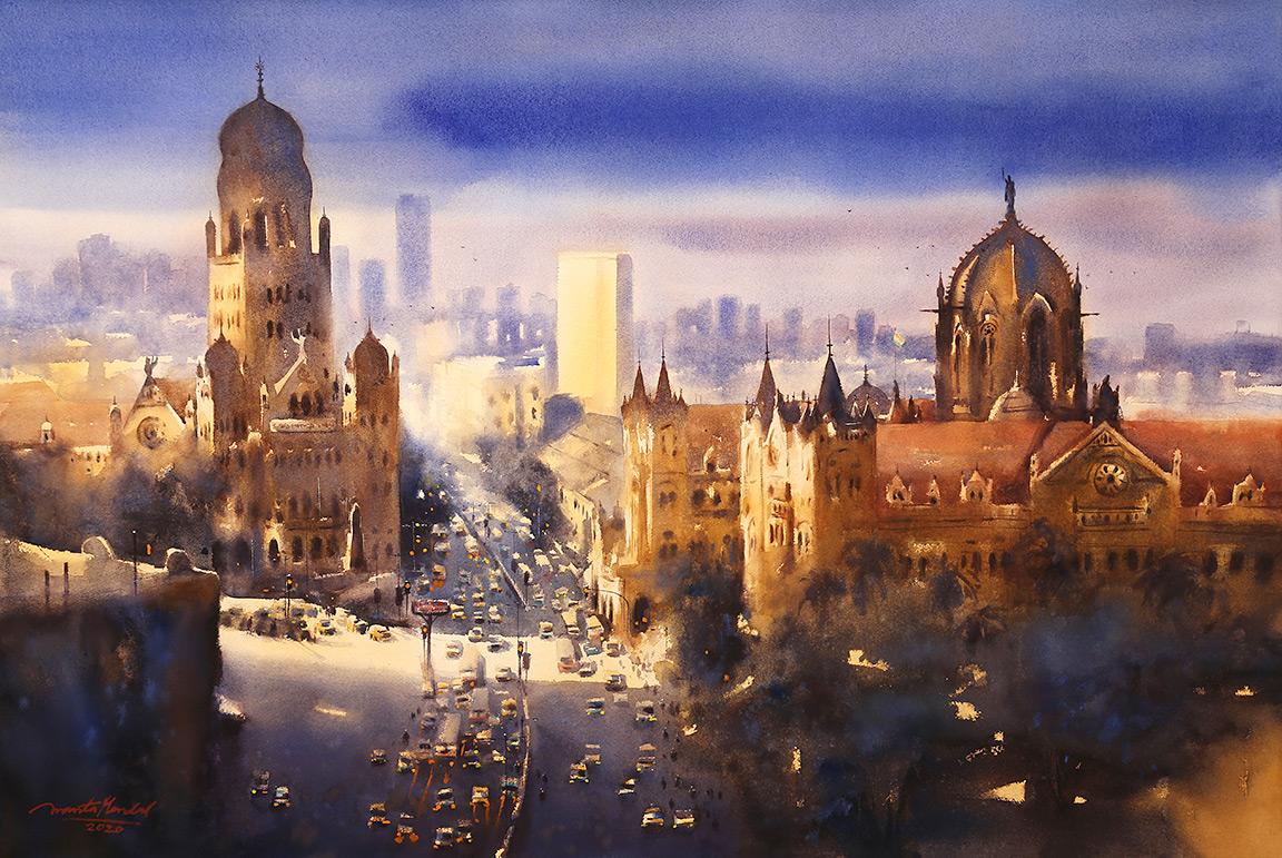 View over Mumbai CST-ananta-mandal-jehangir-art-gallery-mumbai-exhibition-2020