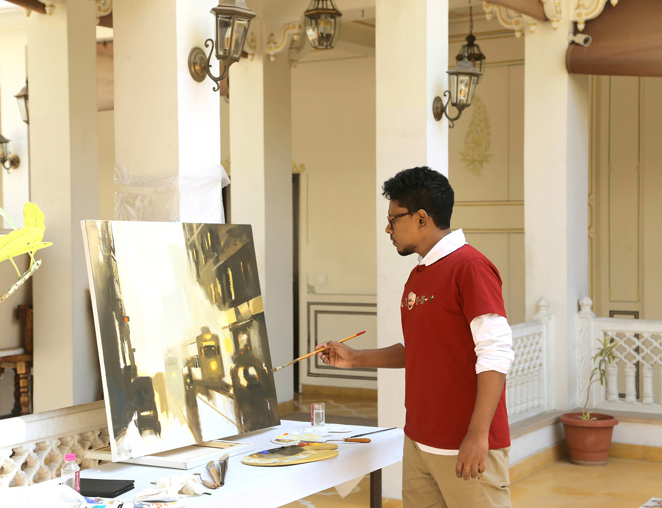 Ananta Mandal in Jaipur Art Camp, Rajasthan