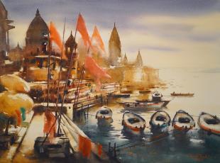 Banaras ghat paintings by Ananta Mandal
