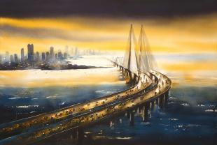 Bandra Worli Sea Link, bombay painting