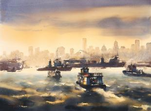 Bombay-Harbour-ii-painting-by-ananta-mandal.jpg