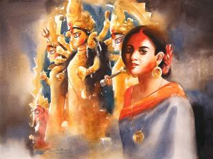 Durga-Puja-paintings-by-ananta-mandal
