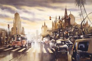 rainy painting, Mumbai CST, Mumbai painting, watercolorist, mumbai monsoon, monsoon in mumbai, monsoon painting, rainy city painting