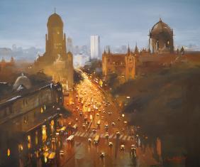 Mumbai-CST-Evening-acrylic-painting-by-ananta-mandal