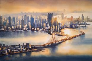 Mumbai-Skyline-Sea-Link-ii-painting-by-ananta-mandal