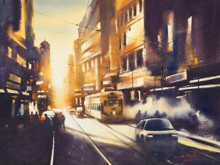 Sunshine-Kolkata-painting-by-ananta-mandal