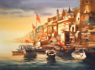 Varanasi Ghat painting by Ananta Mandal