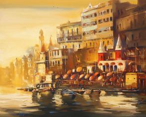 Varanasi-Ghat-III-paintings-by-ananta-mandal