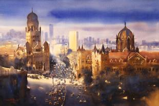 View-over-Mumbai-CST-paintings-by-ananta-mandal