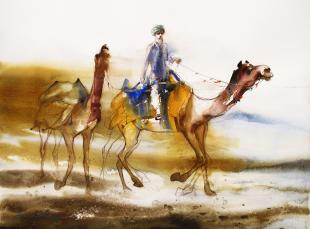 camel-riding-painting-by-ananta-mandal