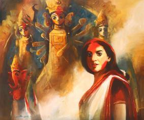durga puja painting by indian artist ananta mandal