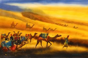 indian painting, desert painting