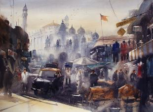 mumbai-juma-masjid-painting-by-ananta-mandal