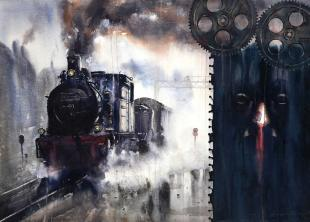 steam engine paintings, contemporary art by ananta mandal