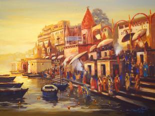 varanasi ganga ghat painting by Indian painter Ananta Mandal