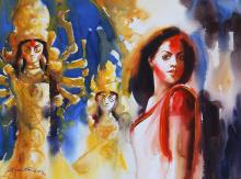 durga festival-watercolor-painting