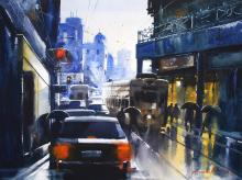 traffic-in-kolkata-painting-by-ananta-mandal