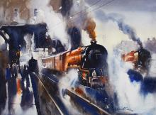 Steam Engine-painting-by-ananta-mandal